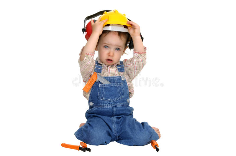 Baby worker. With hat and tools isolated in white stock images