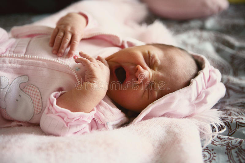 Download Baby yawn stock photo. Image of girl, tired, cute, pink - 11948076