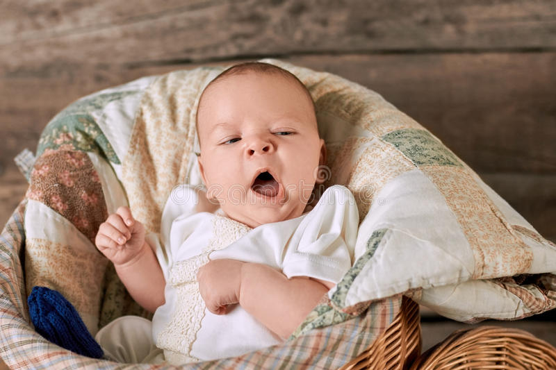Baby is yawning. royalty free stock photos