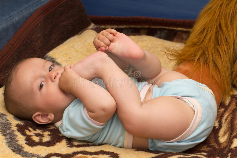 Baby yoga royalty free stock images