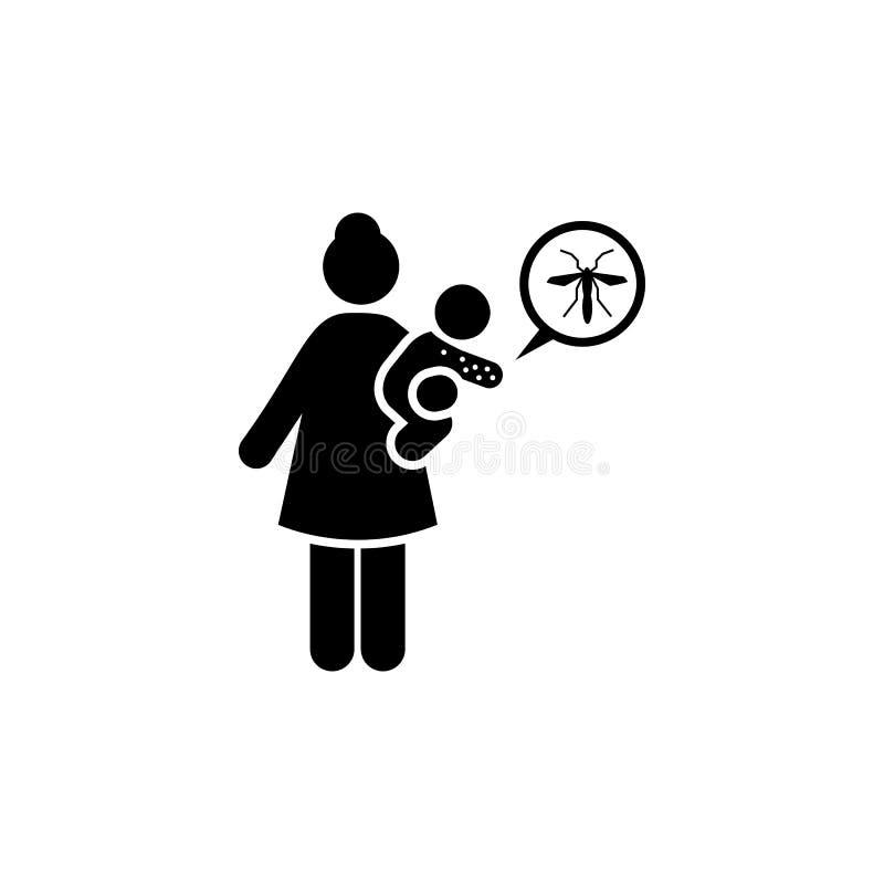 Baby, zika, aedes, vrouwenpictogram Element van aedes mug en knokkelkoortspictogram Grafisch het ontwerppictogram van de premiekw royalty-vrije illustratie