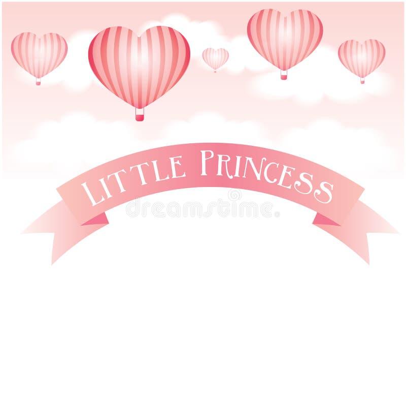 Babyachtergrond met hart gevormde ballons royalty-vrije illustratie