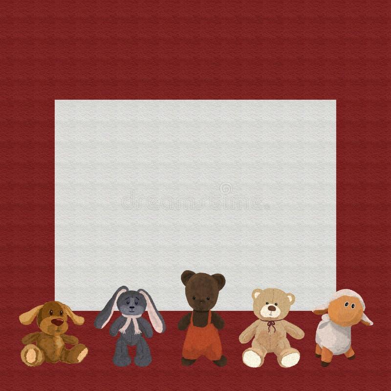 Babyachtergrond met pluche leuk speelgoed stock illustratie