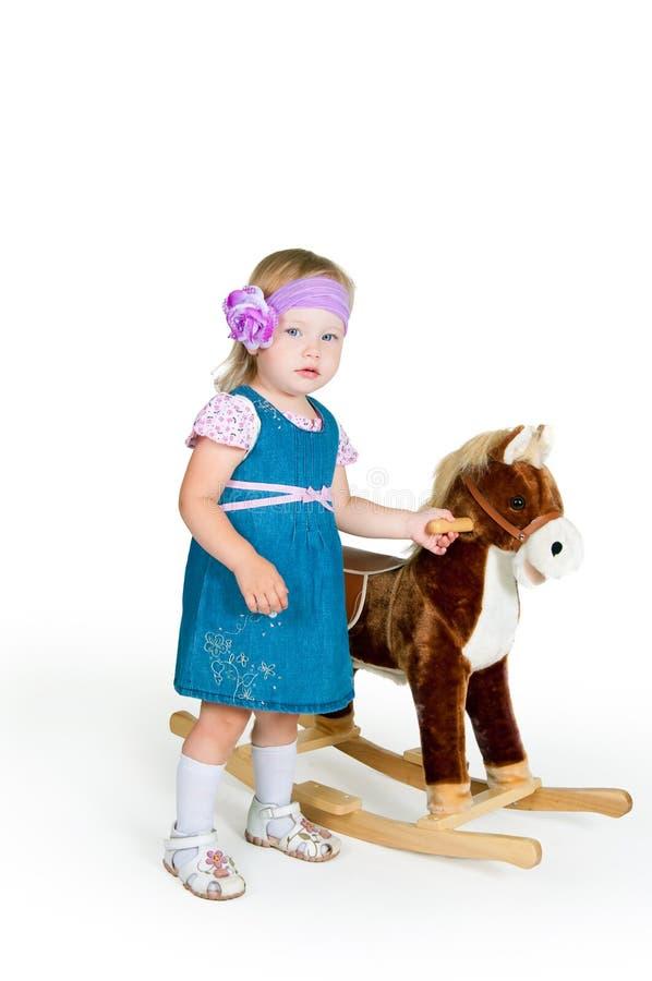 babyand konia odosobnione zabawki biały zdjęcie stock