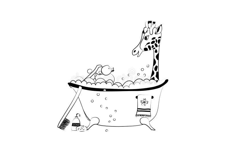 Babyankunfts-Mitteilungskarte mit nette kleine Hand gezeichneter Giraffe im Bad vektor abbildung