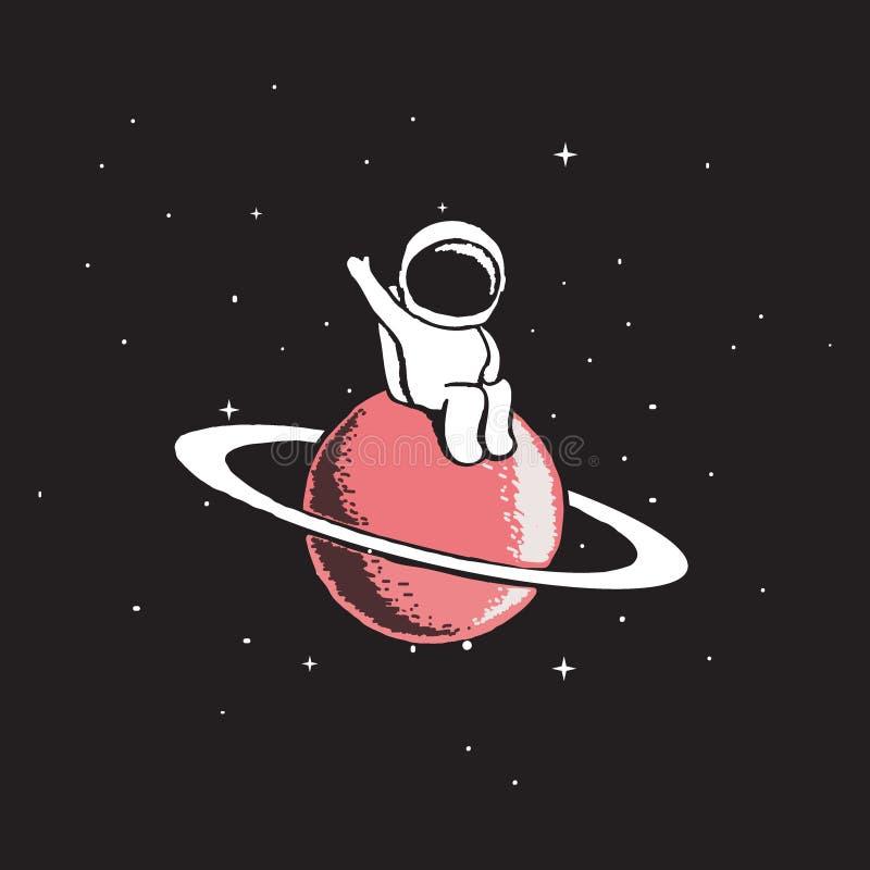 Babyastronaut sitzt auf Saturn lizenzfreie abbildung