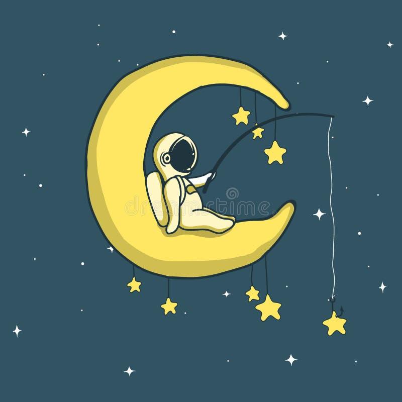 Babyastronauten-Fangsterne auf sichelförmigem Mond lizenzfreie abbildung