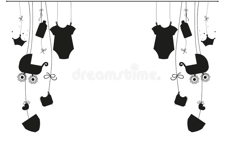 Babybaby-Symbolillustration des Babys neugeborene hängende Schwarzweiss vektor abbildung