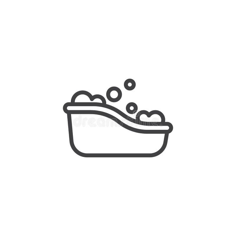 Babybadewannenlinie Ikone stock abbildung