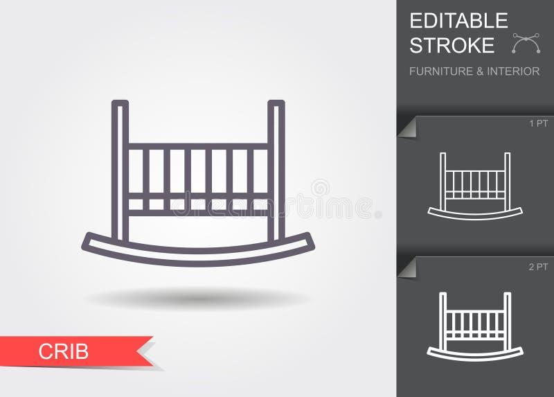 Babybed, voederbak Lijnpictogram met editable slag met schaduw vector illustratie