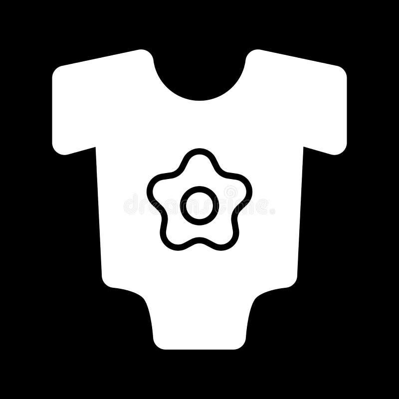 Babybodysuit-Vektorikone Schwarzweiss-Babykleidung für Mädchenillustration Feste lineare Ikone lizenzfreie abbildung