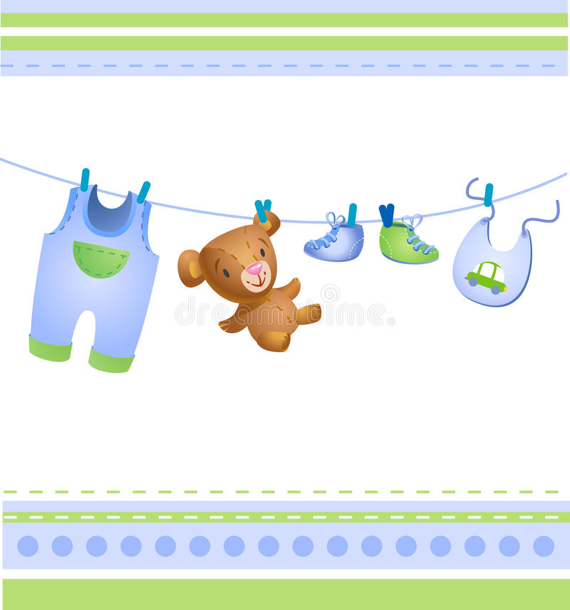 Download Babyboy greeting gard. stock vector. Image of blue, background - 15320134
