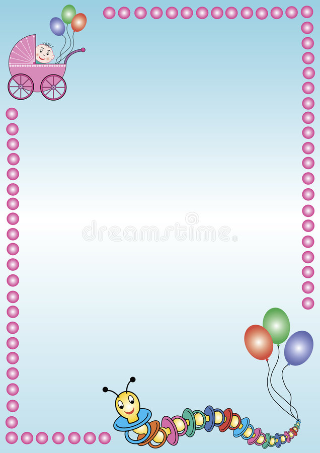 Babybuggy and caterpillar. A useful sheet with ab babybuggy and a caterpillar out of soothers. For advertising for baby-articles, invitations, greetings and so vector illustration