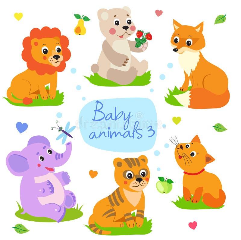 Babydieren: De leeuw, draagt, Vos, Olifant, Tijger, Kat Vastgestelde Karakter Vectorillustratie stock illustratie