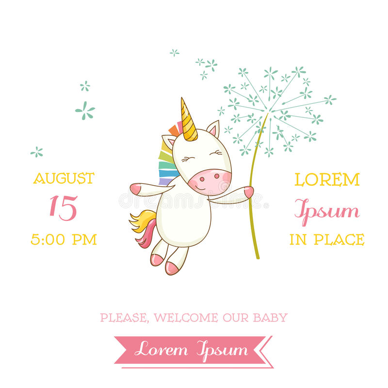Babydouche of Aankomstkaart - Baby Unicorn Girl stock illustratie
