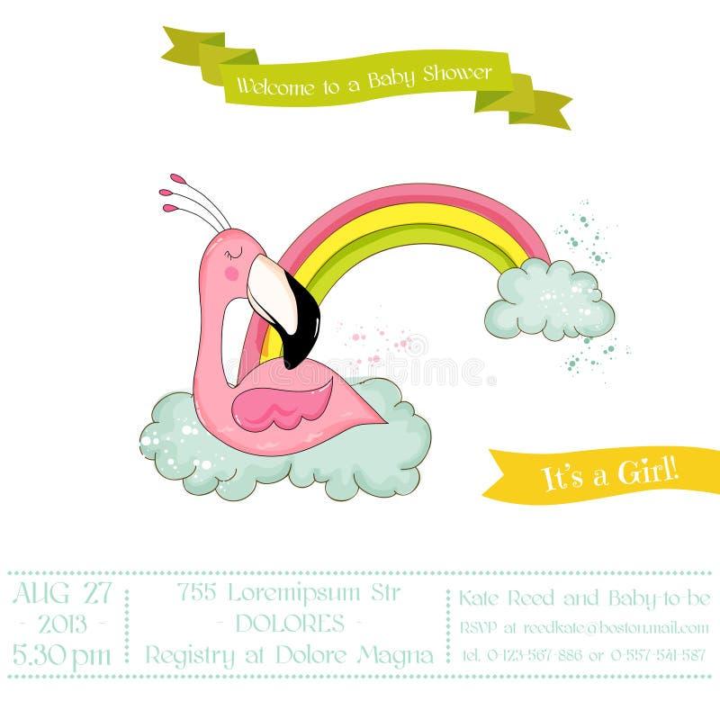 Babydouche of Aankomstkaart - het Meisjesslaap van de Babyflamingo op een Regenboog royalty-vrije illustratie
