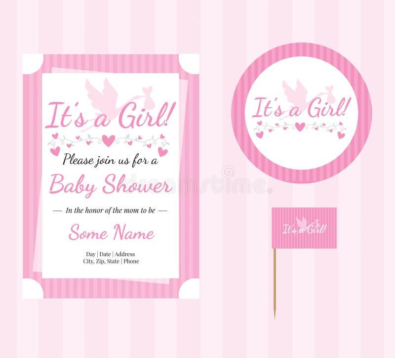 Babydouche, Babymeisje, Editable-Uitnodigingsmalplaatje vector illustratie
