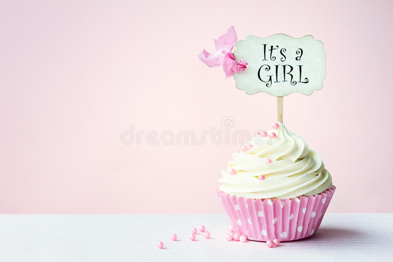 Babydouche cupcake royalty-vrije stock foto's