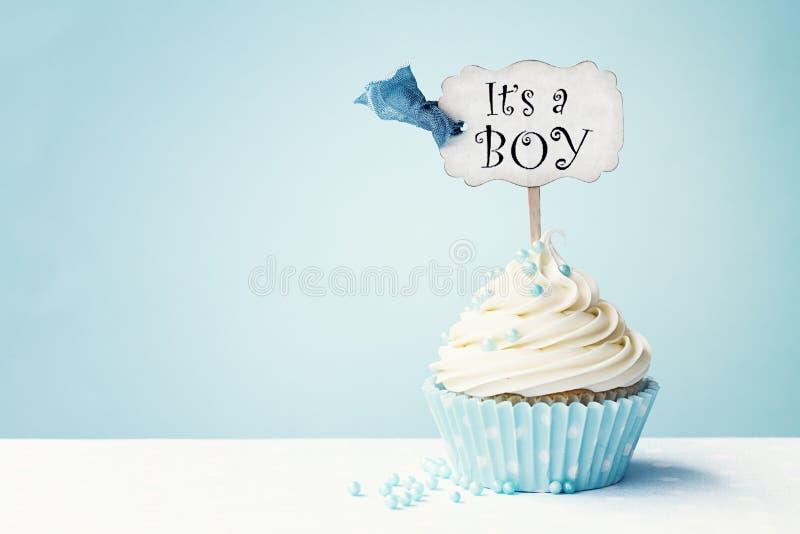 Babydouche cupcake royalty-vrije stock afbeeldingen