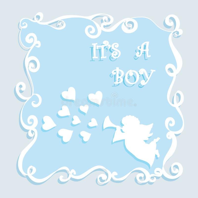 Babydouche it's een kaart van de jongensgroet met engel het spelen pijp en harten stock illustratie