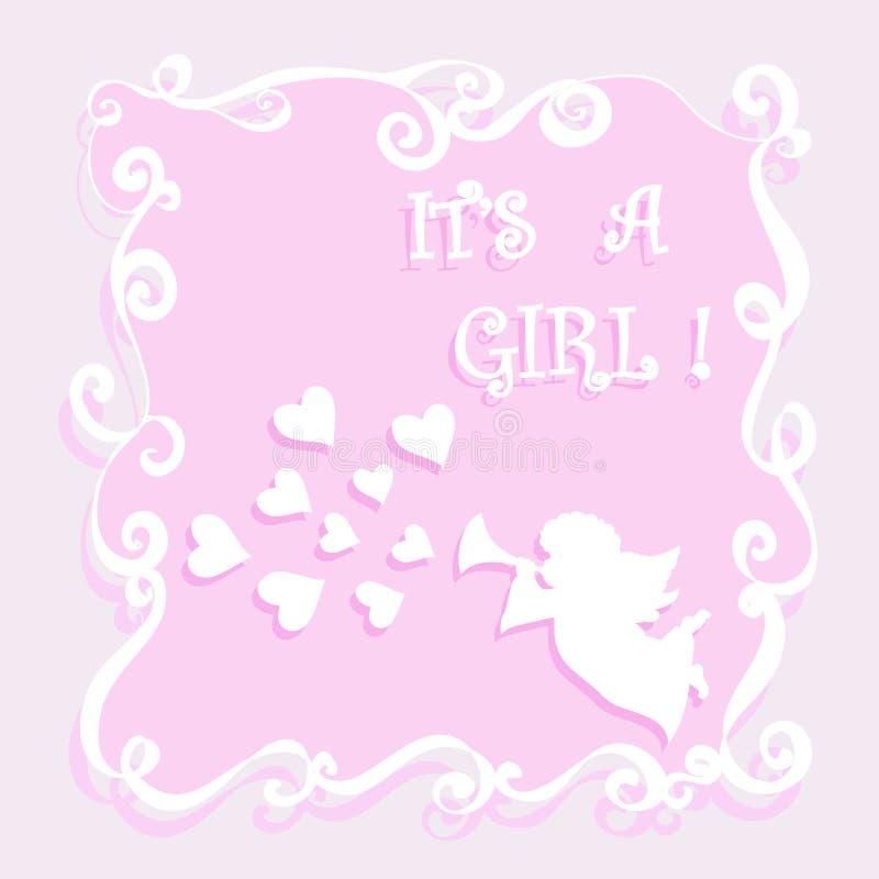 Babydouche it's een kaart van de meisjesgroet met engel het spelen pijp en harten vector illustratie