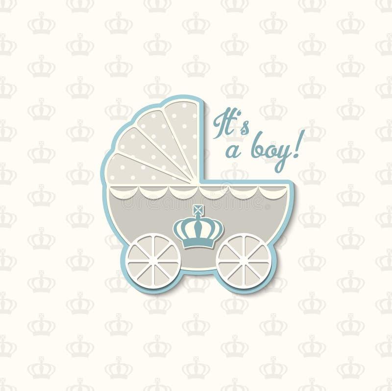 Babydouche met koninklijke kroon en blauwe uitstekende wandelwagen, illustratie royalty-vrije illustratie