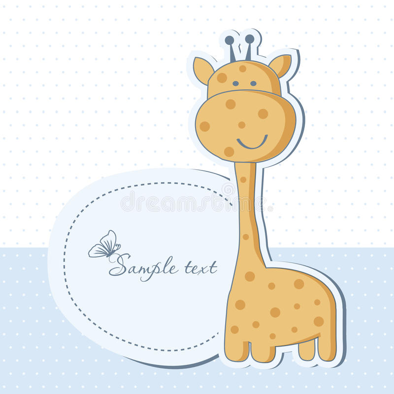Babyduschekarte mit Giraffe stock abbildung