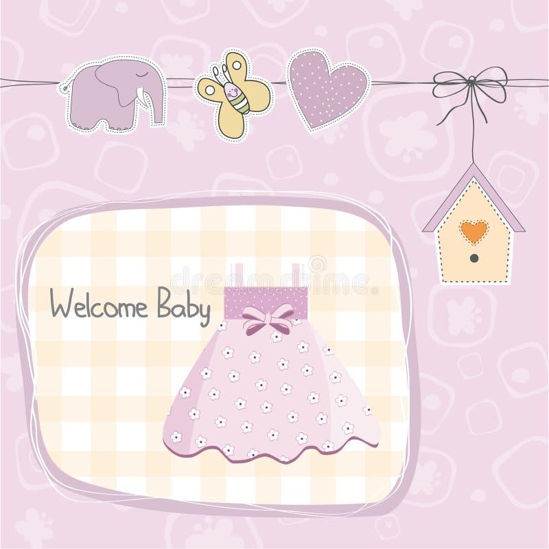 Babyduschkarte mit Kleid vektor abbildung