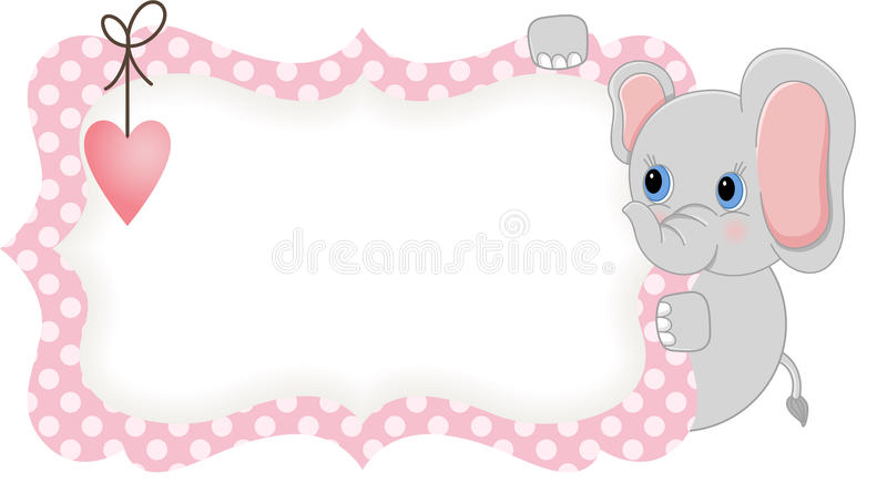 Babyelefant, der rosa leeren Aufkleber hält stock abbildung