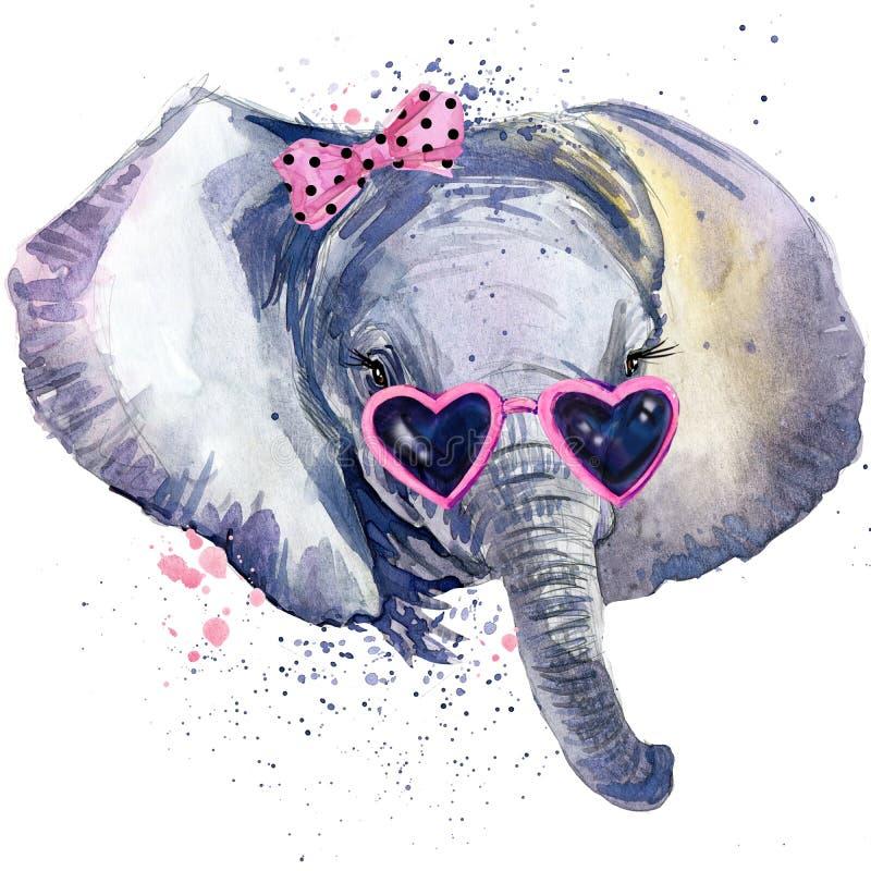 Babyelefant T-Shirt Grafiken Babyelefantillustration mit Spritzenaquarell maserte Hintergrund ungewöhnliches Illustration wate stock abbildung
