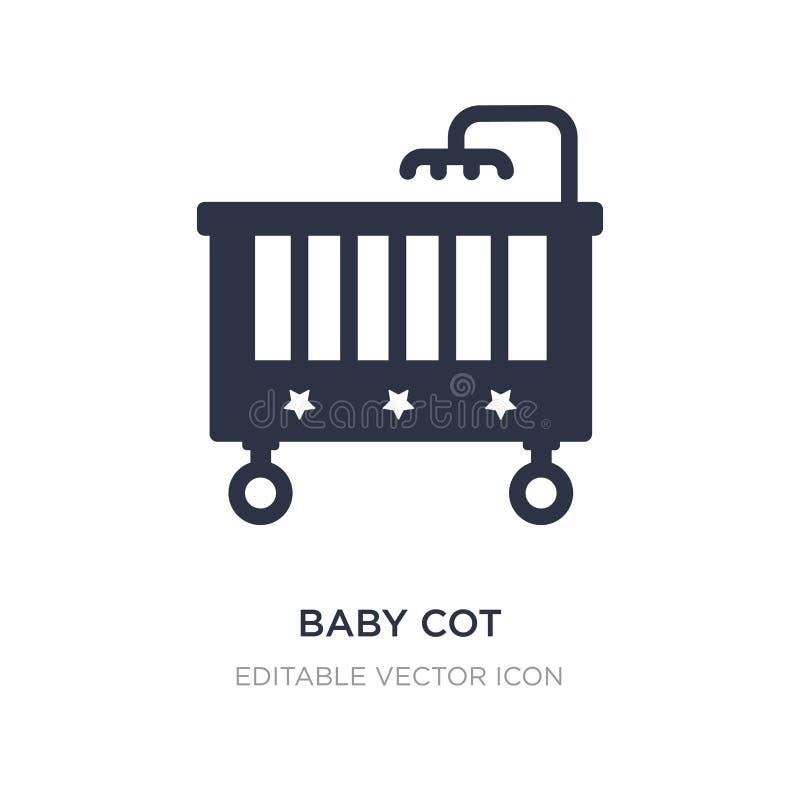 Babyfeldbettikone auf weißem Hintergrund Einfache Elementillustration vom Möbel- und Haushaltskonzept lizenzfreie abbildung