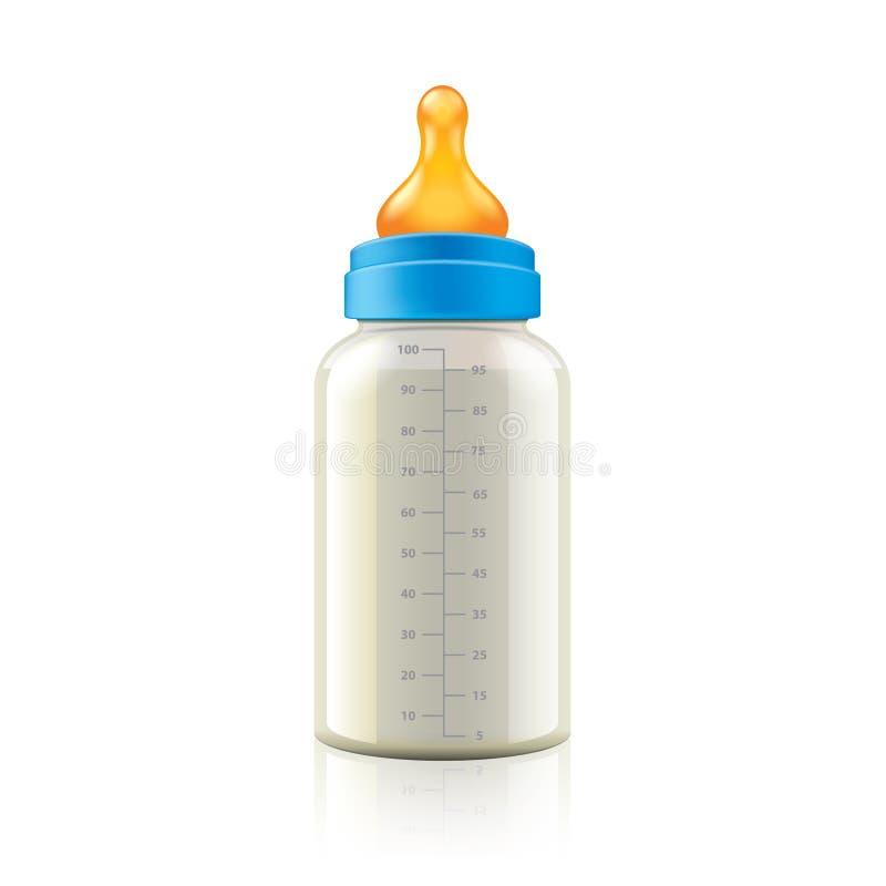 Babyflasche auf weißem Vektor lizenzfreie abbildung