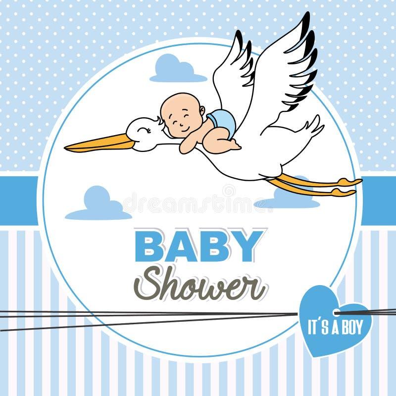 Babyfliegen auf einen Storch lizenzfreie abbildung