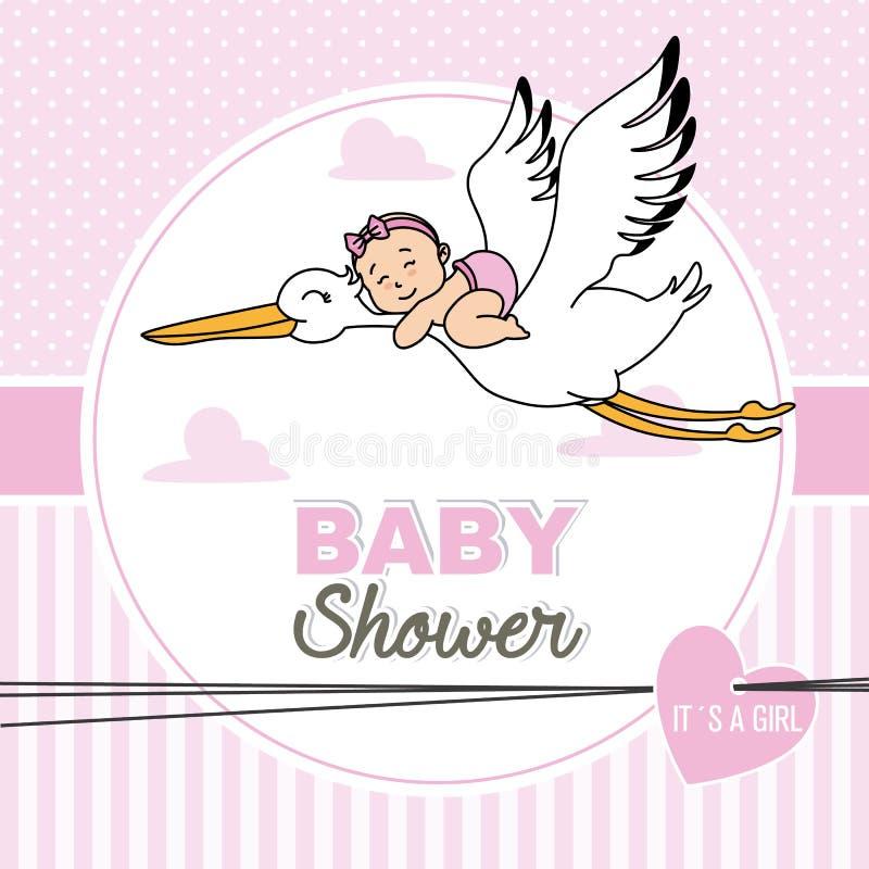 Babyfliegen auf einen Storch stock abbildung