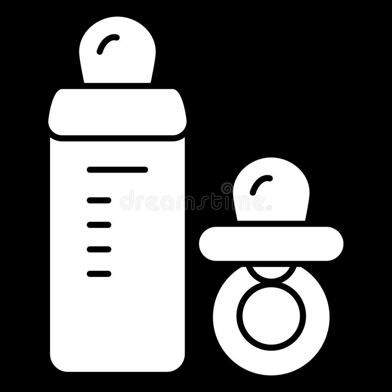 Babyfriedensstifter und Flaschenvektorikone Schwarzweiss-Babyattrappenillustration Feste lineare Ikone stock abbildung