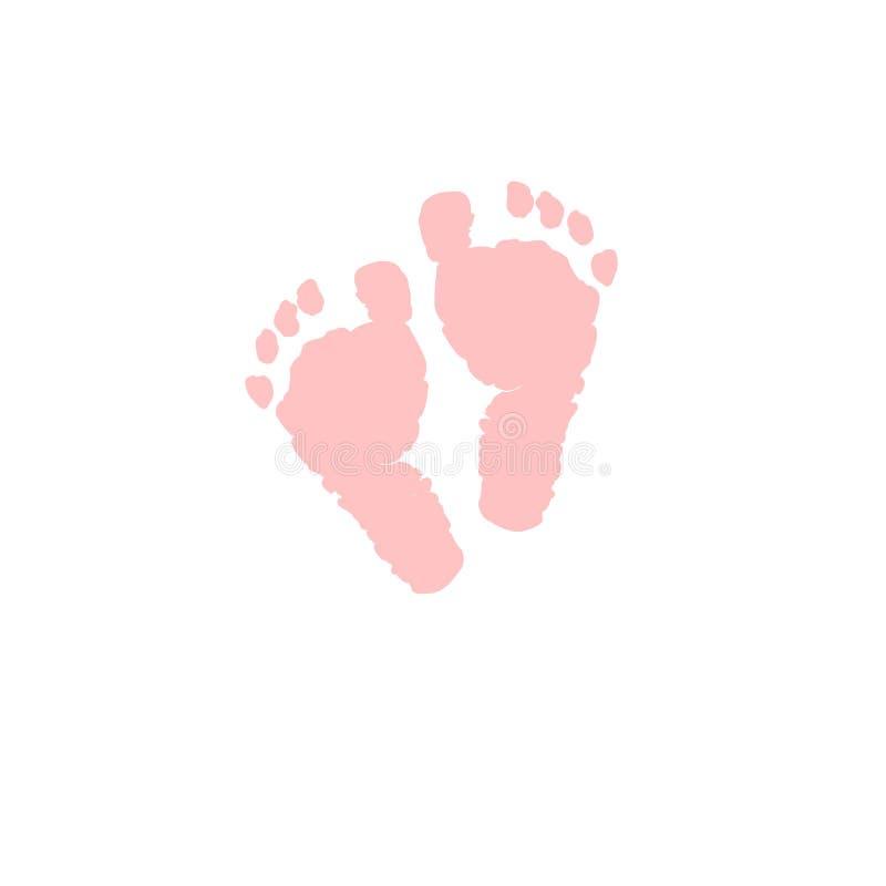 Babyfußikonen-Vektorillustration Weiche rosa farbige Babyfußikone lokalisiert stock abbildung