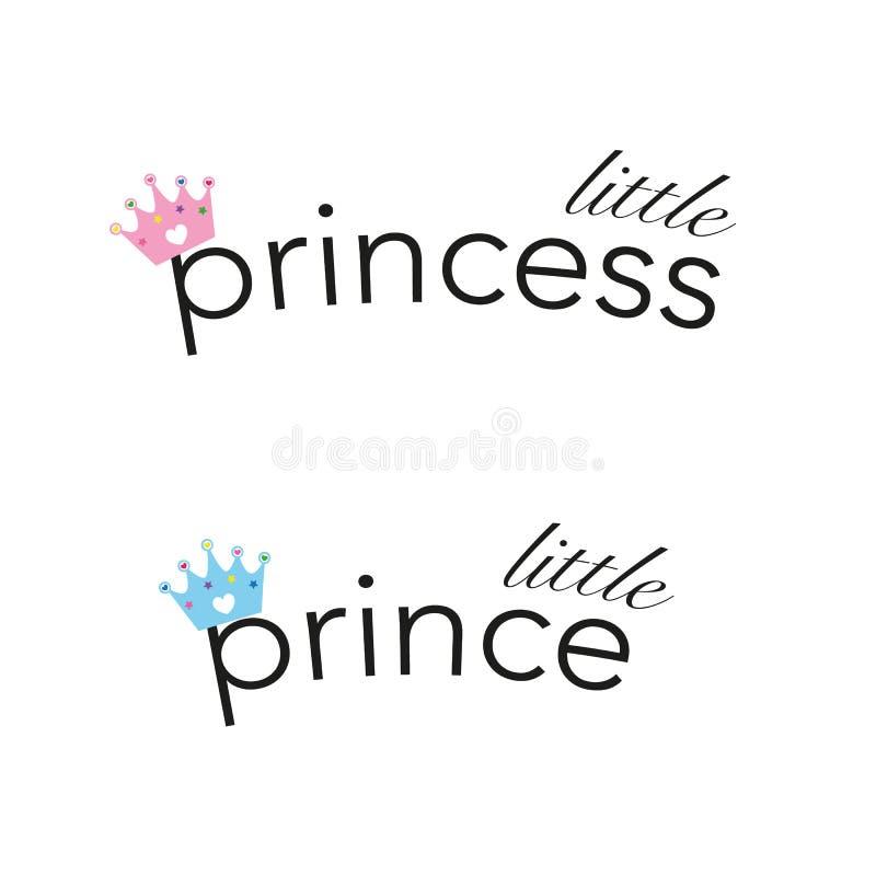 Babyfuß druckt nahtlose blaue Prinzessin patternLittle Hintergrund der Babyparty und wenig Prinztext mit Rosa und blauer Krone Ba vektor abbildung