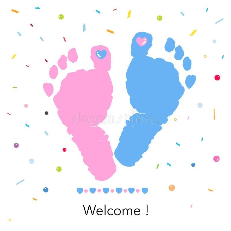 Babyfußdrucke Willkommene Baby-Gruß-Karte Blauer und rosa Fußdruck mit Konfettis stock abbildung
