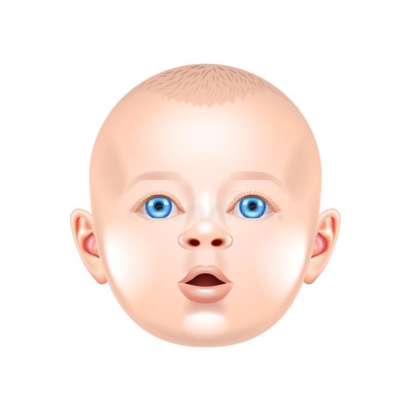 Babygezicht op witte vector royalty-vrije illustratie