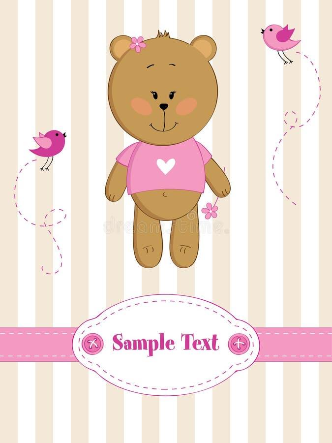 Babygrußkarte mit Teddybären stock abbildung