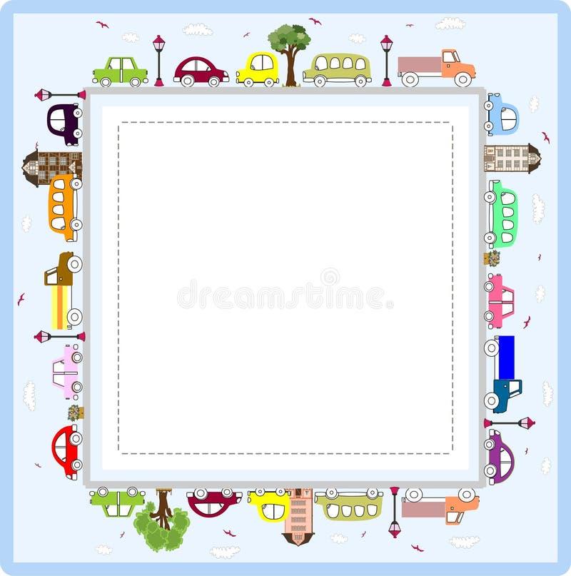 Babygrußkarte Oder -rahmen Mit Autos Vektor Abbildung - Illustration ...