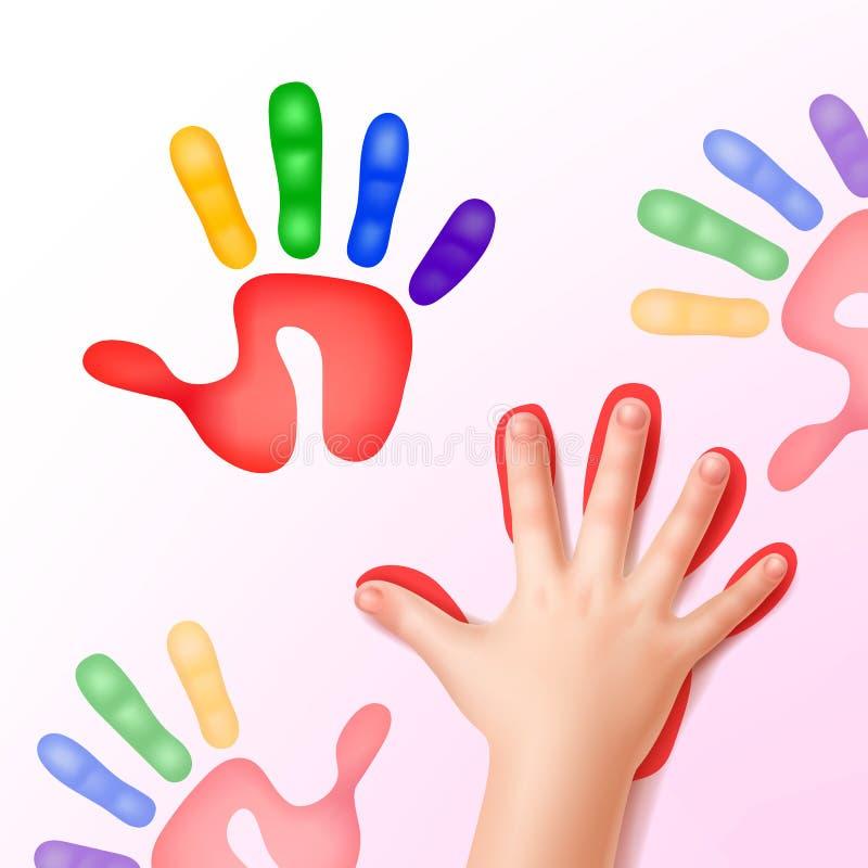 Babyhand met drukken stock illustratie