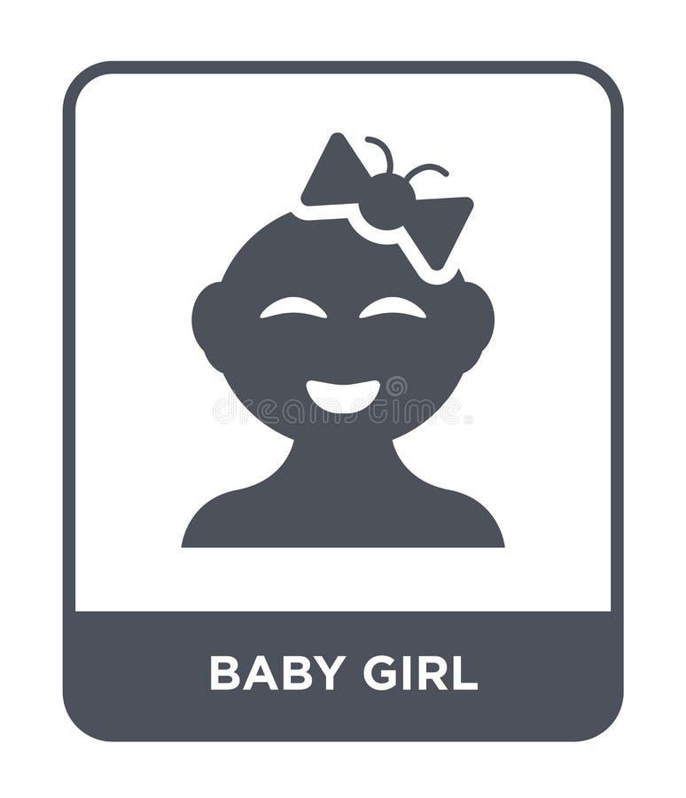 Babyikone in der modischen Entwurfsart Babyikone lokalisiert auf weißem Hintergrund einfache und moderne Ebene der Babyvektor-Iko stock abbildung
