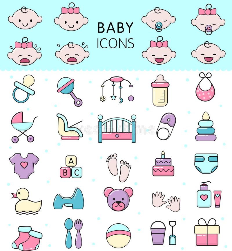 Babyikonen vector Kinder spielen für Säuglingsjungen oder Mädchen im babyroom und childs Flasche oder Spaziergängerillustrationss stock abbildung