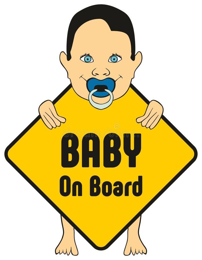 Babyjongen aan boord van sticker stock illustratie