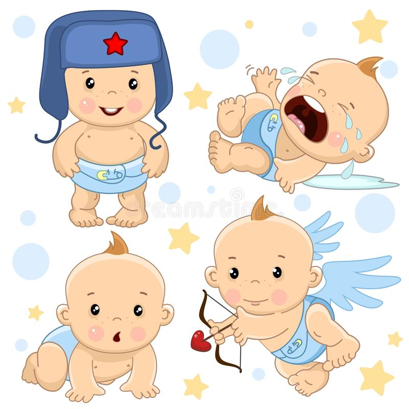 Babyjongen 1 deel stock illustratie
