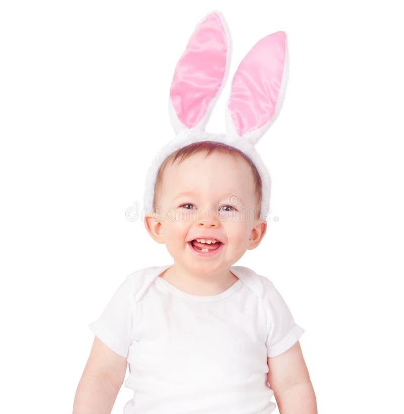 Babyjongen die konijntjesoren dragen royalty-vrije stock foto