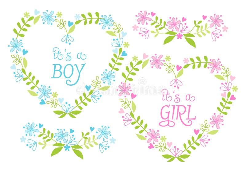 Babyjongen en meisje, bloemenharten, vector royalty-vrije illustratie