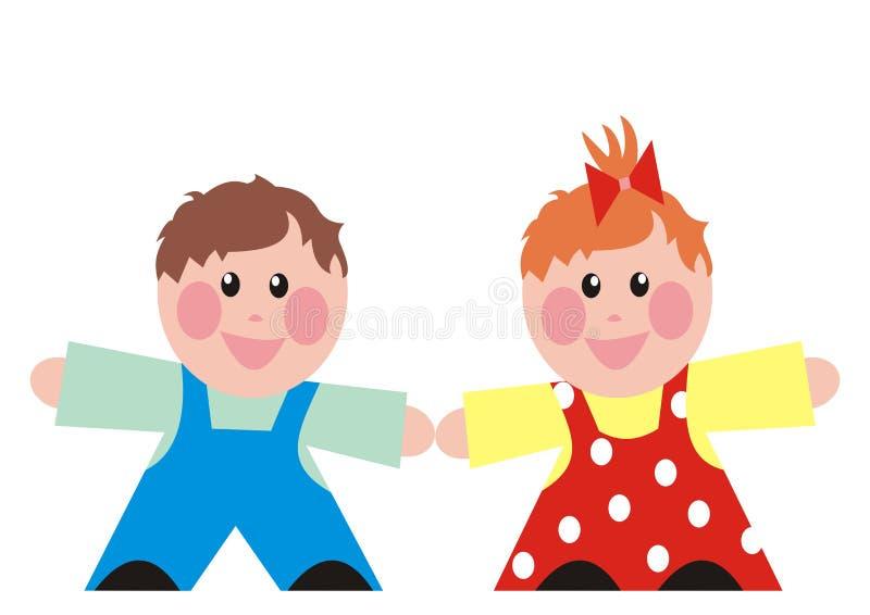 Babyjongen en meisje, gelukkige jonge geitjes, peuterleeftijd royalty-vrije illustratie