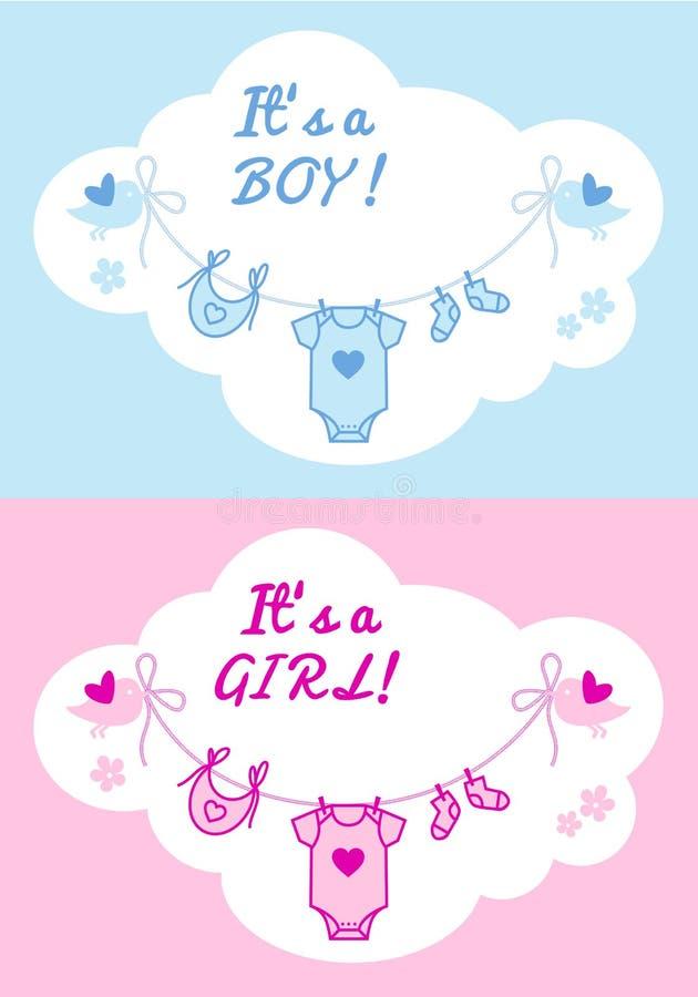 Babyjongen en meisje, vectorachtergrond stock illustratie